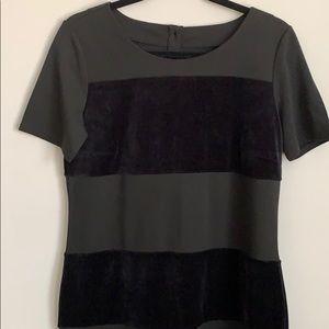 Cotton and velvet blocked dress